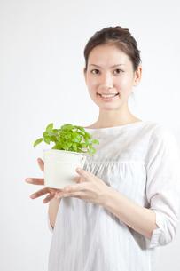 ハーブの鉢植えを愛でる女性の写真素材 [FYI01616299]
