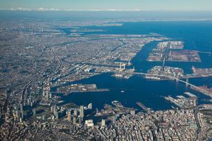 横浜市街地と京浜臨海地域の空撮の写真素材 [FYI01616626]