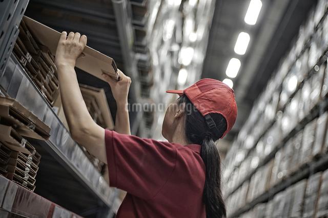 物流倉庫で商品のボックスをまとめている女性の写真素材 [FYI01616997]