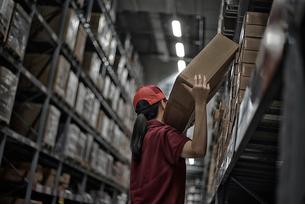倉庫で商品ボックスを整理している女性の写真素材 [FYI01617525]