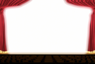 幕が開いた明るいステージのイラスト素材 [FYI01617619]