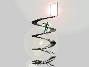 ドアに伸びる螺旋階段を駆け上るビジネスマンのイラスト素材 [FYI01617636]