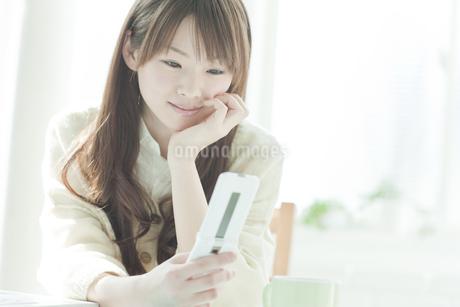 机でメールをする若い日本人女性の写真素材 [FYI01619579]