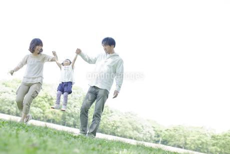 公園で手を繋いで歩く3人家族の写真素材 [FYI01619865]