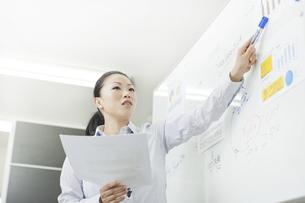 ホワイトボードを指し発言する女性社員の写真素材 [FYI01620119]