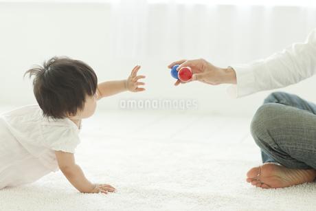 父親からボールを取ろうとする赤ちゃんの写真素材 [FYI01620409]