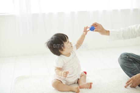 父親からボールを取ろうとする赤ちゃんの写真素材 [FYI01620472]