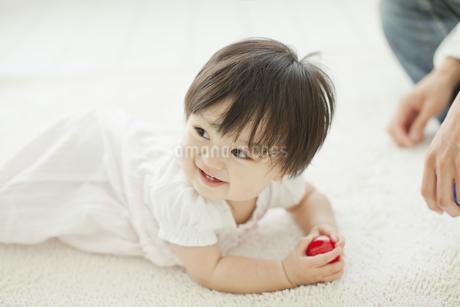 ボールを持ち喜ぶ赤ちゃんの写真素材 [FYI01620580]
