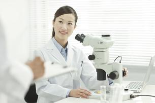 研究室で話す男女の研究者の写真素材 [FYI01620677]