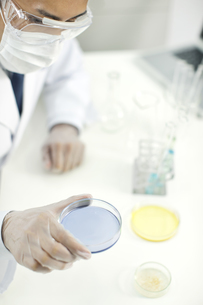 シャーレを持つ男性研究者の写真素材 [FYI01620728]