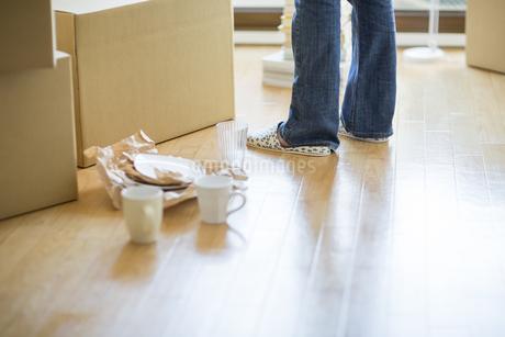引っ越し作業をする女性の写真素材 [FYI01621063]