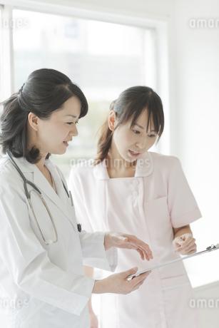 打ち合せをする女性医師と看護師の写真素材 [FYI01621257]