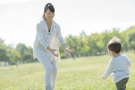 母親と一緒によちよち歩く赤ちゃんの写真素材 [FYI01621446]