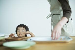テーブルの上の食器を見つめる男の子の写真素材 [FYI01621903]