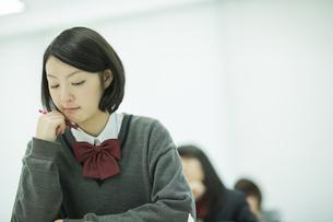 塾で勉強をする女子高校生の写真素材 [FYI01621906]