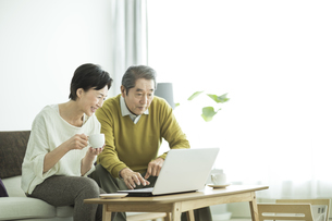 ノートパソコンをするシニア夫婦の写真素材 [FYI01621975]