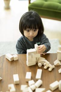 積み木で遊ぶ女の子の写真素材 [FYI01621984]