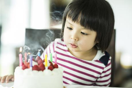 ローソクの火を吹き消す女の子の写真素材 [FYI01622076]