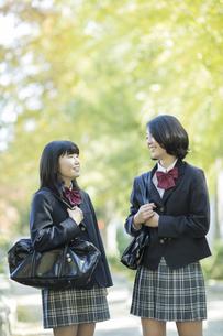 笑顔で会話をする女子高校生の写真素材 [FYI01622098]