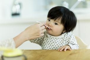 母親に食べさせてもらう赤ちゃんの写真素材 [FYI01622302]