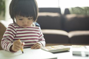 お絵描きをする女の子の写真素材 [FYI01622385]