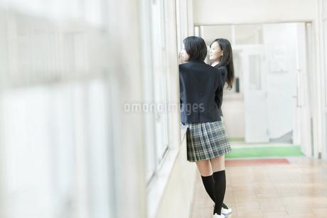 廊下に立つ女子校生の写真素材 [FYI01622601]