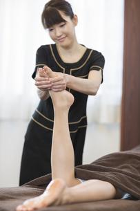 足ツボマッサージを受ける若い女性の写真素材 [FYI01622784]