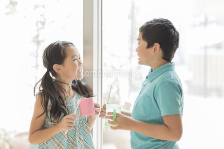 歯ブラシとコップを持って向き合う兄と妹の写真素材 [FYI01622865]