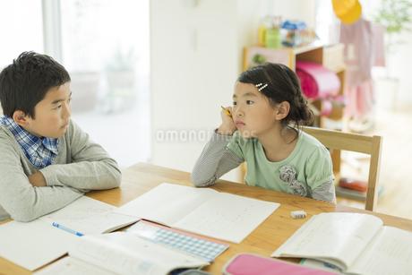 テーブルで勉強をする兄と妹の写真素材 [FYI01623418]
