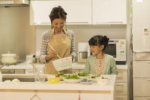 キッチンで夕食の準備をする親子の写真素材 [FYI01623431]
