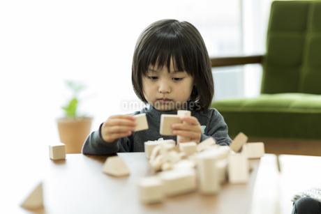 積み木で遊ぶ女の子の写真素材 [FYI01623463]