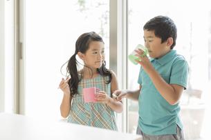 歯磨きをする兄と妹の写真素材 [FYI01623497]