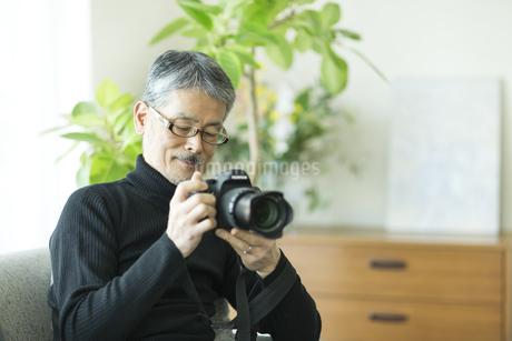 一眼レフカメラを触るシニア男性の写真素材 [FYI01623555]