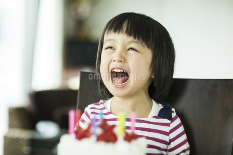 ケーキの前で口を大きく開けて笑う女の子の写真素材 [FYI01623564]
