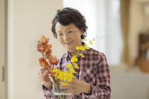 花瓶に花を飾るシニア女性の写真素材 [FYI01623590]
