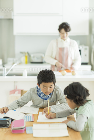 テーブルで勉強をする兄と妹の写真素材 [FYI01623690]