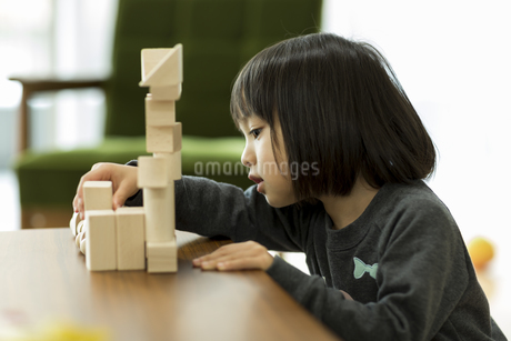 積み木で遊ぶ女の子の写真素材 [FYI01623712]