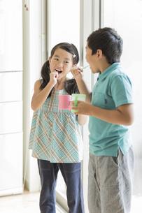 歯磨きをする兄と妹の写真素材 [FYI01623763]