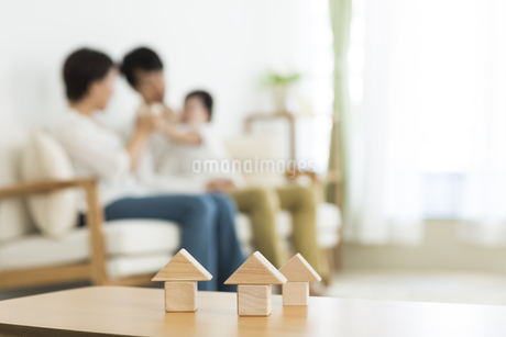 積み木と3人家族の写真素材 [FYI01623788]