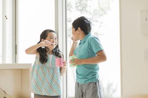 歯磨きをする兄と妹の写真素材 [FYI01623882]
