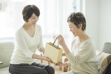 娘からプレゼントを受け取る母の写真素材 [FYI01623907]