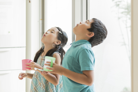 うがいをする兄と妹の写真素材 [FYI01623979]