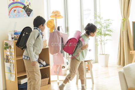 ランドセルを背負う兄と妹の写真素材 [FYI01624094]