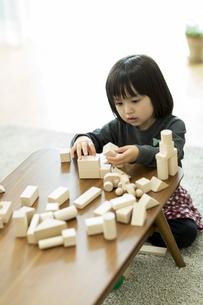 積み木で遊ぶ女の子の写真素材 [FYI01624169]