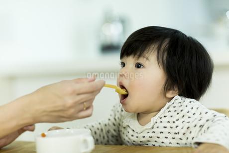 母親に食べさせてもらう赤ちゃんの写真素材 [FYI01624290]