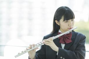 フルートを吹く女子校生の写真素材 [FYI01624328]