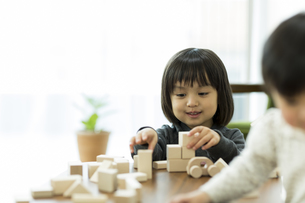 積み木で遊ぶ女の子の写真素材 [FYI01624396]