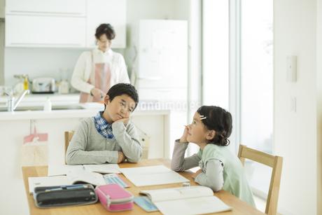 テーブルで勉強をする兄と妹の写真素材 [FYI01624433]