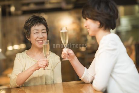 ワインで乾杯する母娘の写真素材 [FYI01624474]