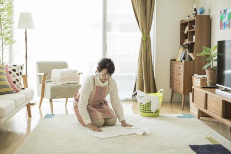 洗濯物を畳む女性の写真素材 [FYI01624575]